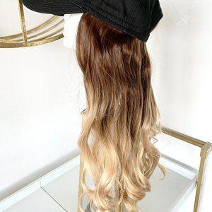 "Baseball Hat Wig 20"" Synthetic Hair Wavy"